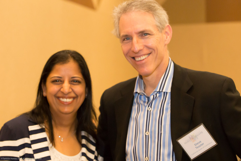 Raji Sridhara, 2014 Invest in Dreams Honoree, and Steve Tessler of California Bank of Commerce