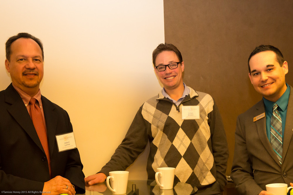 Al Lerma and Ethan Brown of the Sonoma County Economic Development Board and Aaron Delgado of Umpqua Bank