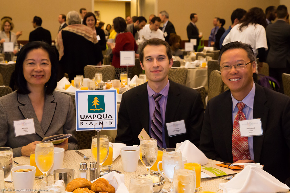 Melody Hom, Filipp Kabanyayev and Raymond Quan of Umpqua Bank