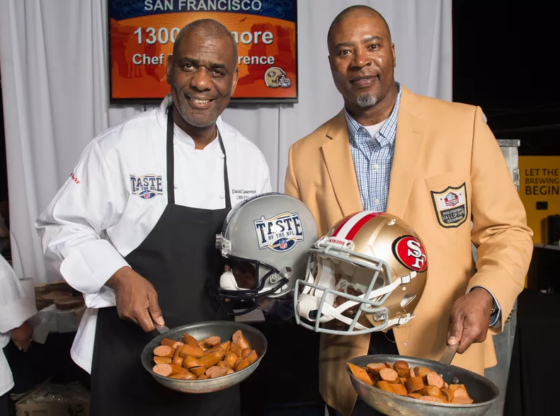 David Lawrence with Chris Doleman, photo c/o Eater SF and Taste of the NFL