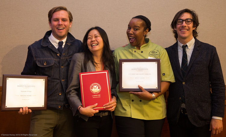 The 2016 Invest in Dreams Honorees: Michael Maher (far left) and Barrett Purdum (far right) of Taylor Stitch, Nona Lim of Nona Lim, and Cheryl Johnson of CJ's Sweet & Savory Cobblers