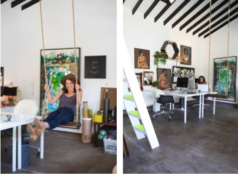 Interior designer Sally Breer in her LA office. I adore with her work space. Full story on Sous Style.