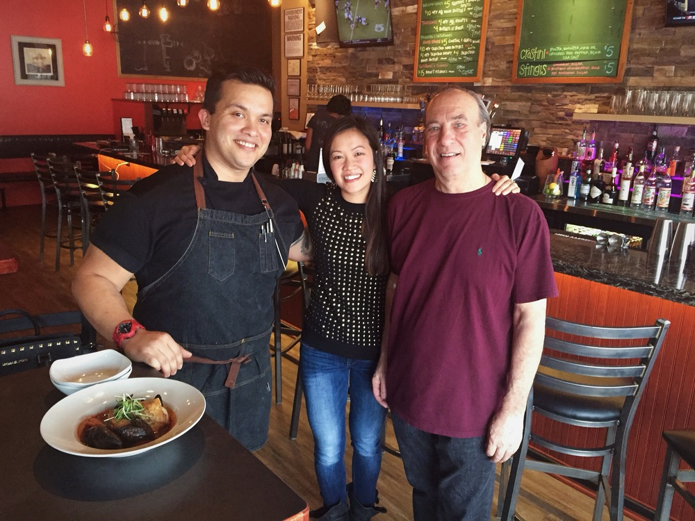 Standing with the talented Chef Steven Lara and the mastermind behind Orbs Restaurant, Owner Bob Caranddo.