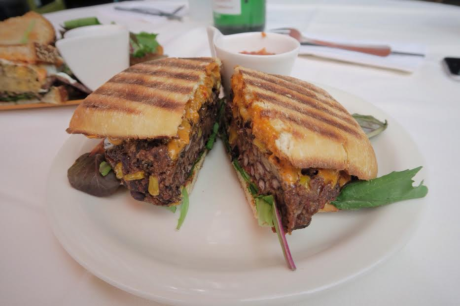 Black Bean Burger with Melted Cheddar, Chipotle Mayo, Salsa on Ciabatta Bread $8