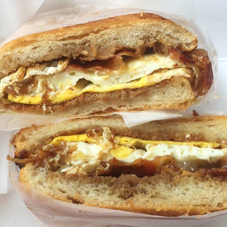 The Espresso Sauce Maple Bacon Egg sandwich