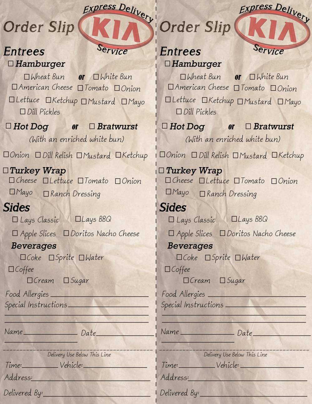 Service Menu used for local dealership