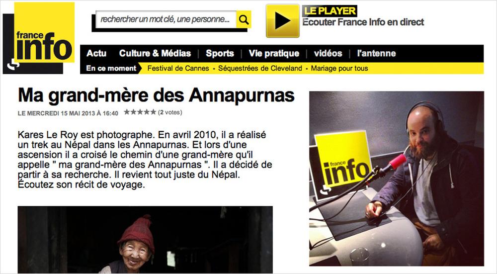 France Info   (May 2013) > interviewé par  Ingrid Pohu  dans son émission Voyage et Découvertes >     ici
