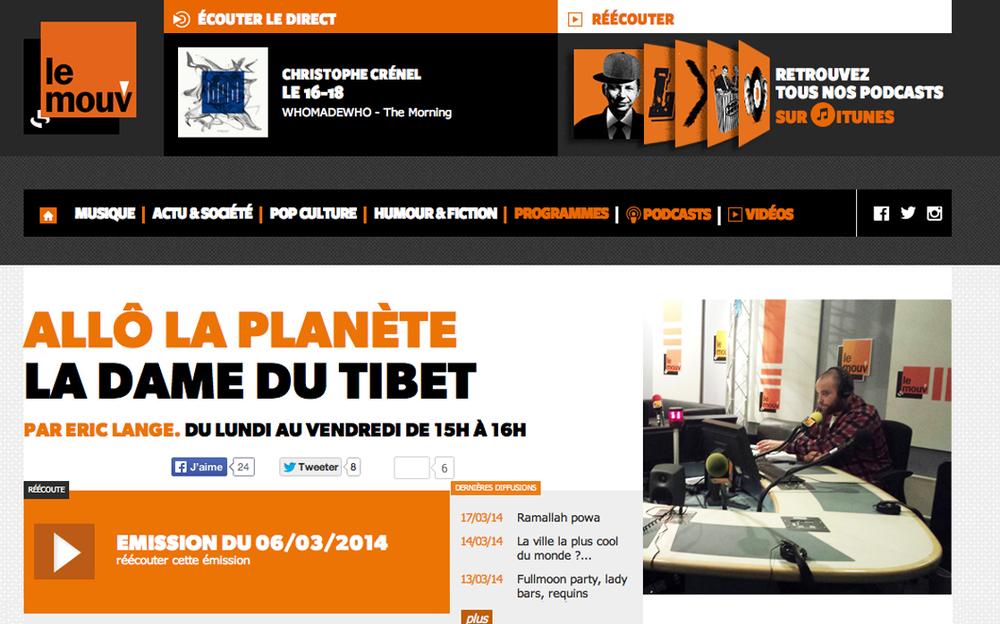 Le Mouv   (March 2014) > interviewé par  Eric Lange  dans l'émission  Allô le Planète  >   ici