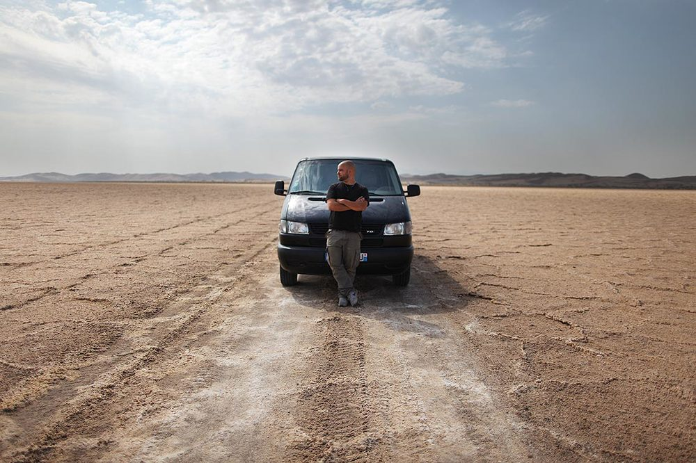Driving my van through a desert of salt (photo by   Charline Gerbault  ) | IRAN