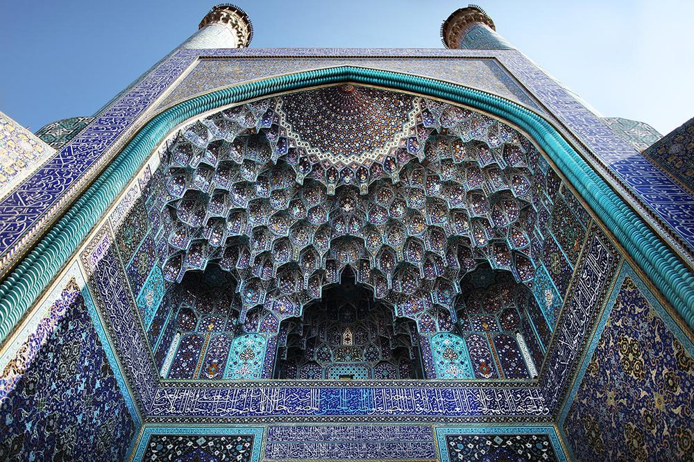 The front of the Imam Mosque in  Isfahan . It is regarded as one of the masterpieces of Persian Architecture and an excellent example of Islamic era architecture of Iran