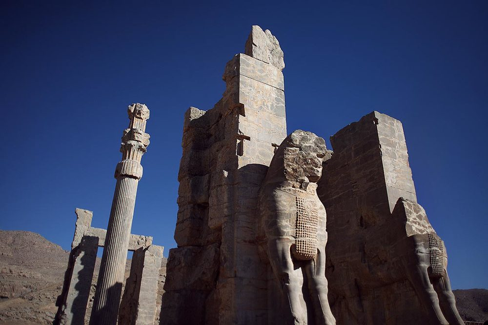 The  Gate of all Nations  of  Persepolis , referring to subjects of the empire, consisted of a grand hall that was a square of approximately 25 metres.