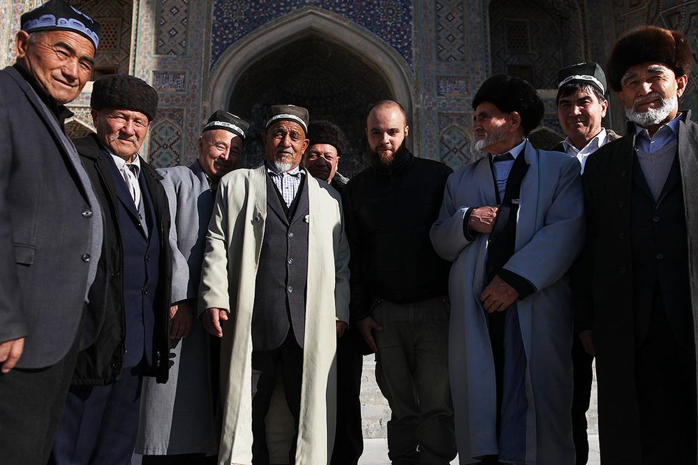 "Me and my crew of ""Aksakal"" (white beards) in  Registan  of Samarkand  