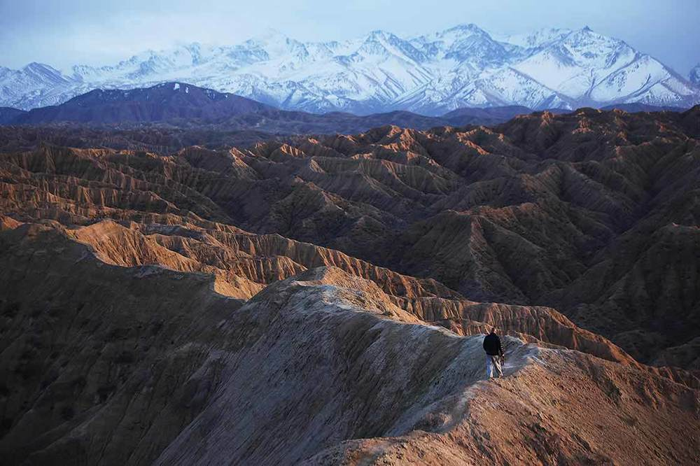 Me on the peaks overlooking  Issyk Kul  lake  | KYRGYZSTAN (photo by Charline Gerbault /   ITWIA  )