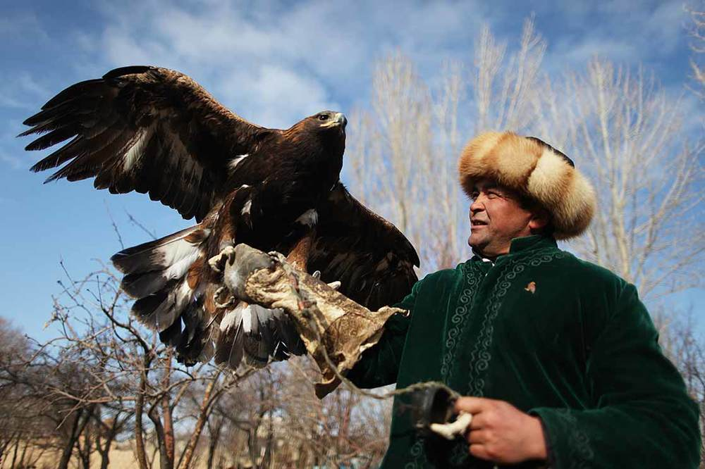 A famous falconer of  Bokonbayev  and his eagle | KYRGYZSTAN