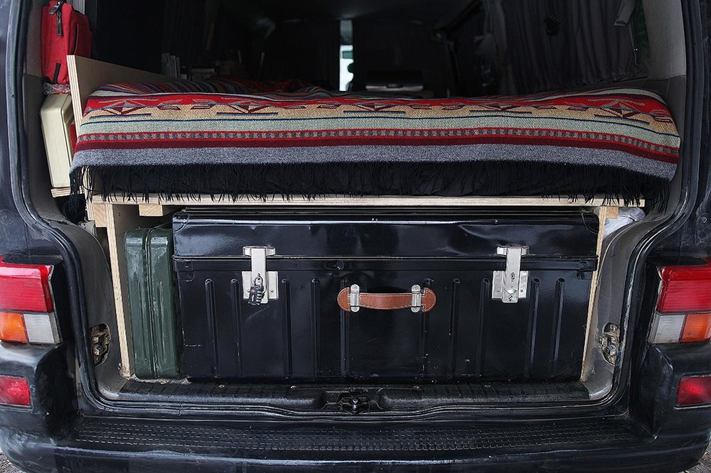 Storage compartment in the back of my van with my camera equipment