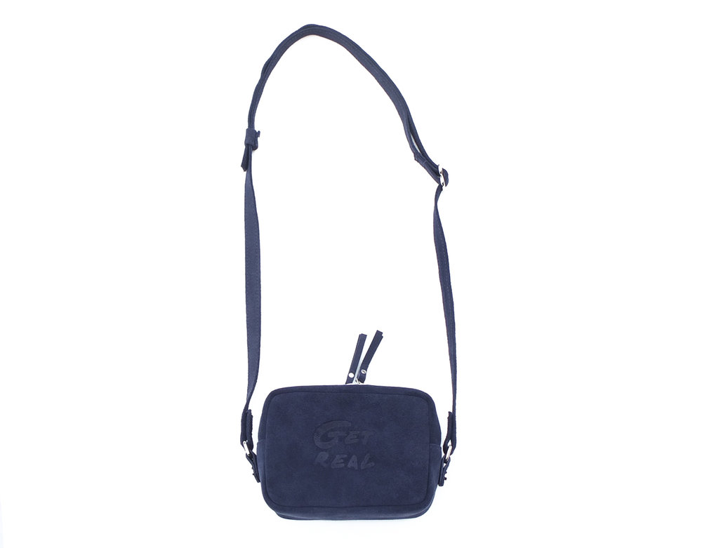 Navy suede SQUARE shoulder bag