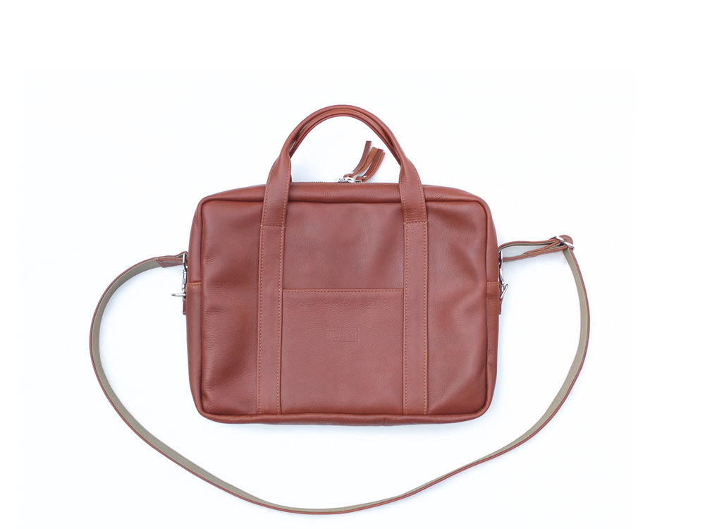 "Leather briefcase in Cognac- Fits 15"" laptop or smaller"