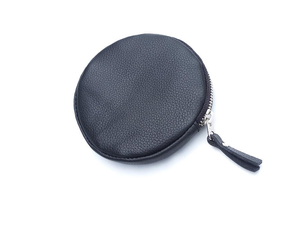 Pochette ronde en cuir