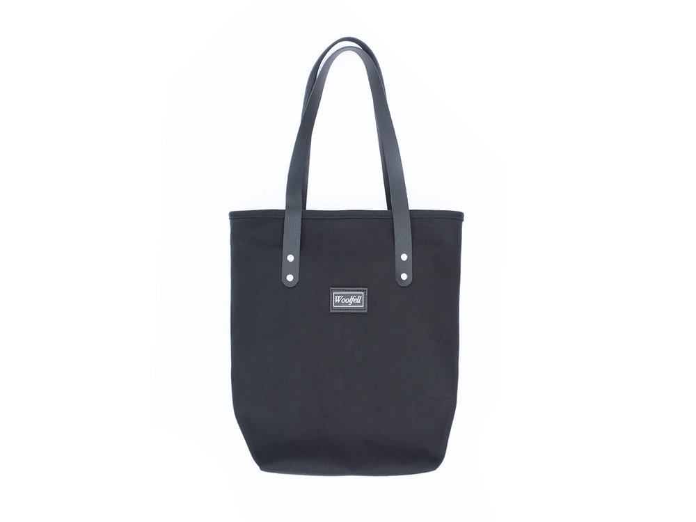 Black cotton canvas and leather Tote bag