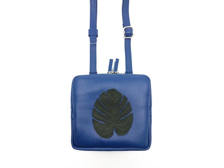 Woolfell u2014 mini leather shoulder bag - leaf appliqué
