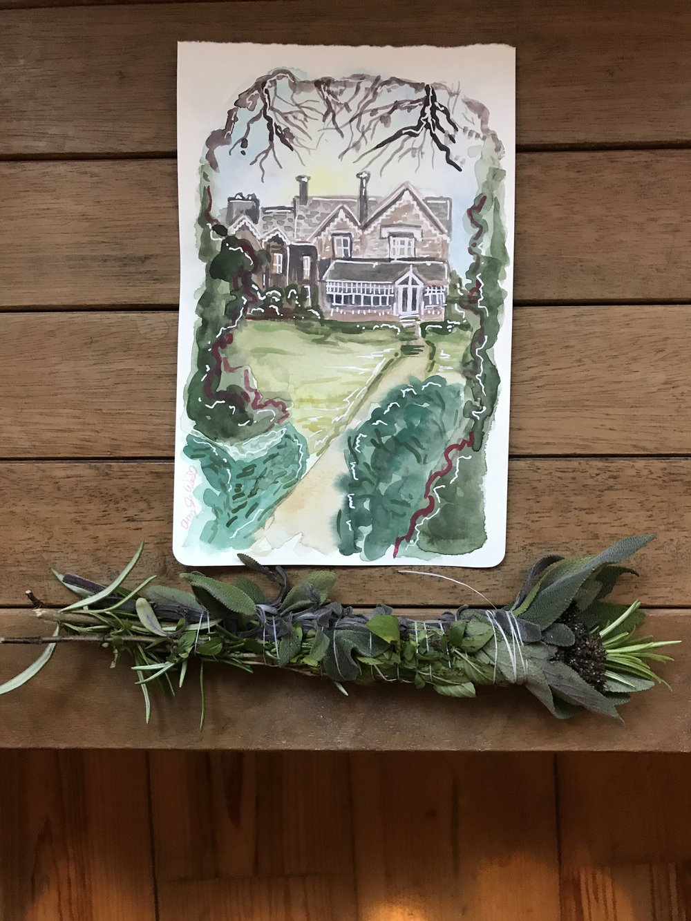 A parting gift to the airbnb owner paired with some herbs and such I got from the garden and brought home with me to dry out and burn.