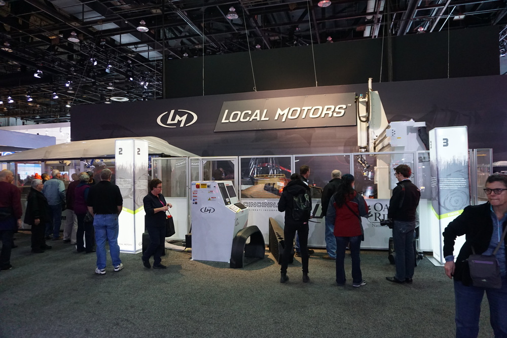 Local Motors production set up on the show floor at NAIAS Detroit 2015