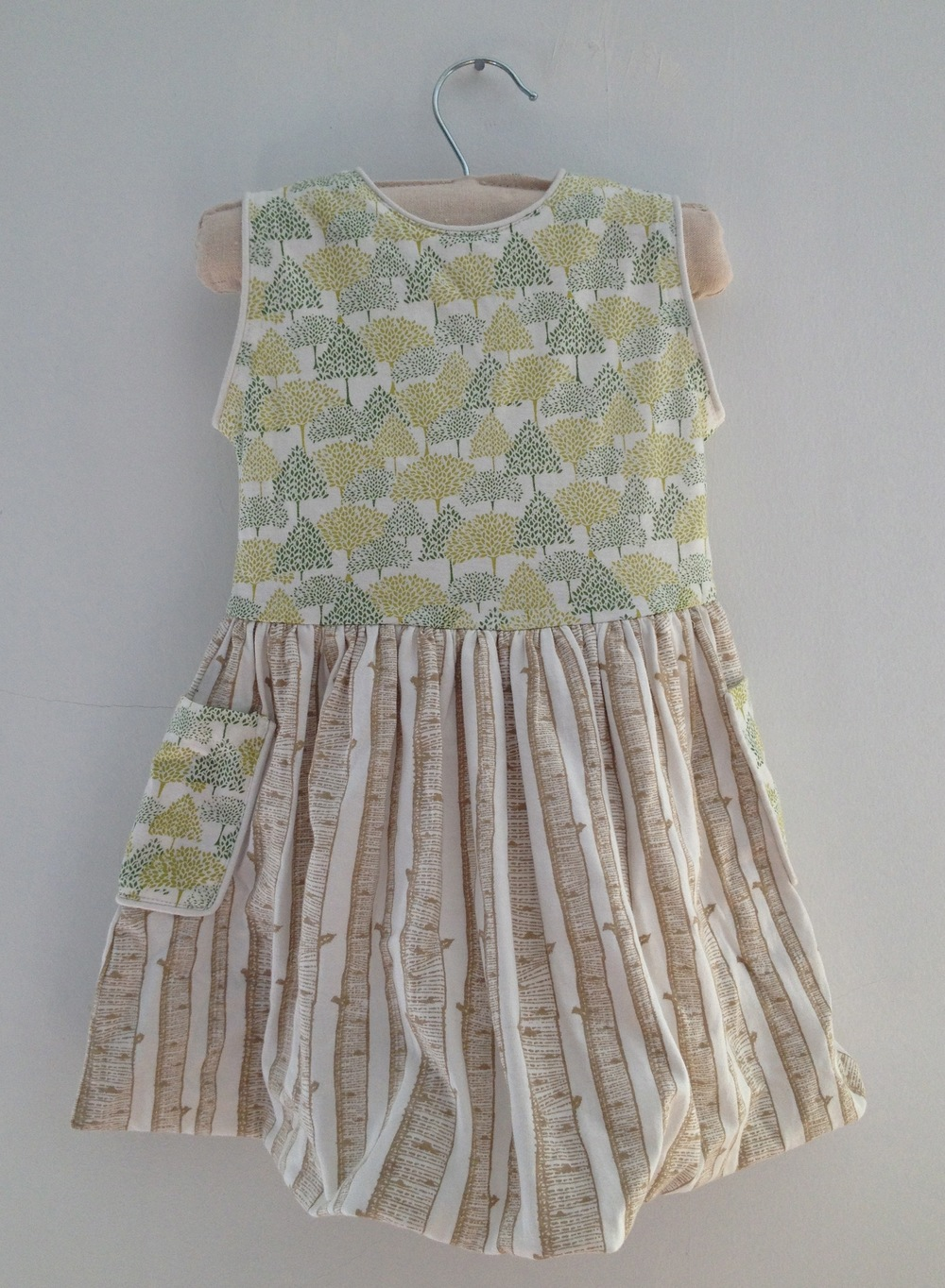 Kate Quinn  Piped cargo bubble dress - Forest , 100% organic cotton