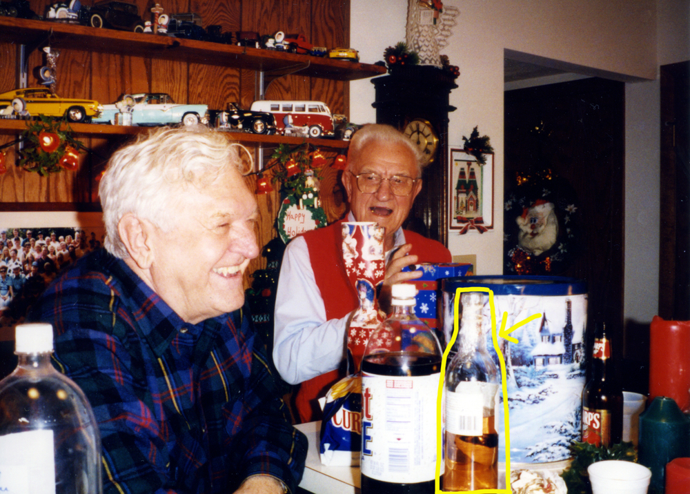 Uncle Matt (left) and my Grandpa (right) on Christmas many moons ago.   Kruškovac    highlighted in yellow.
