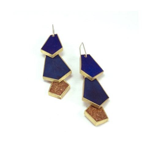 Earrings02_Blue concrete, Cork, Brass (2016)