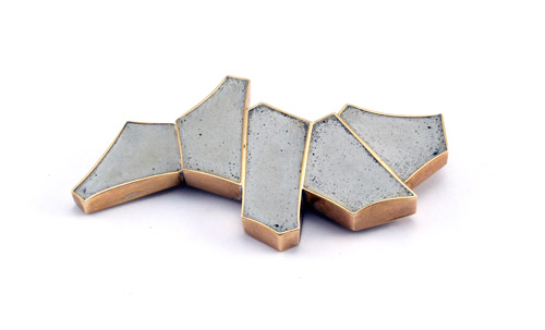 Brooch01_Natural grey concrete, Brass (2016)  Currently in Sanders Collection, NYC