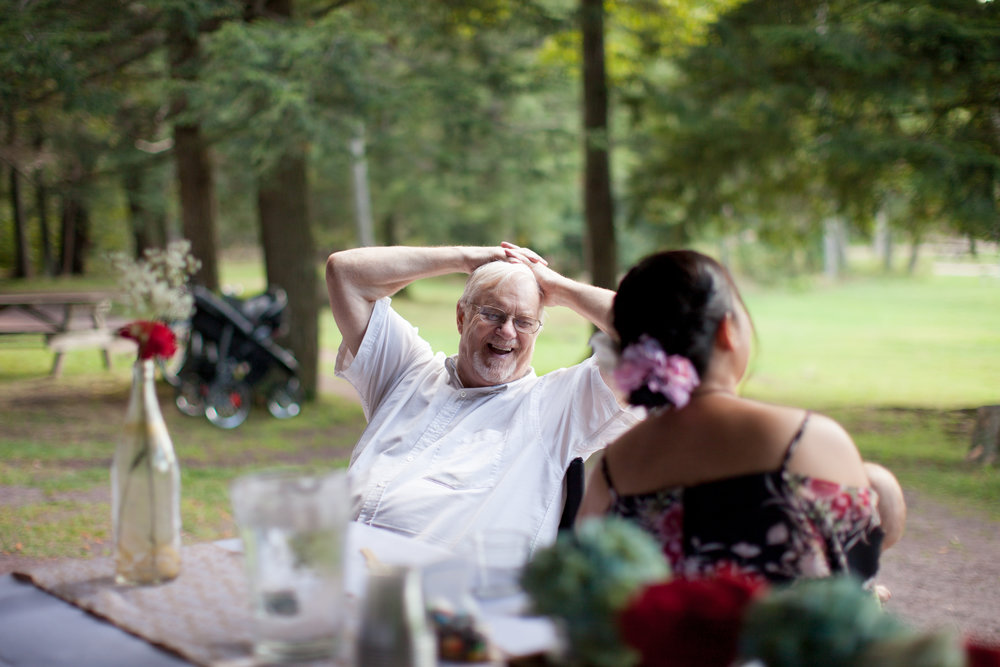 HAPPY GRANDPA DURING THE RECEPTION
