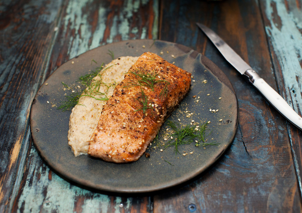 Homemade: Dukkah-Spiced Salmon with Fennel Purée