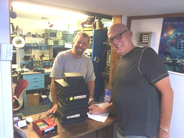 John Fede of Audio Video Recovery Services, with John Lamb, in Natick, MA.