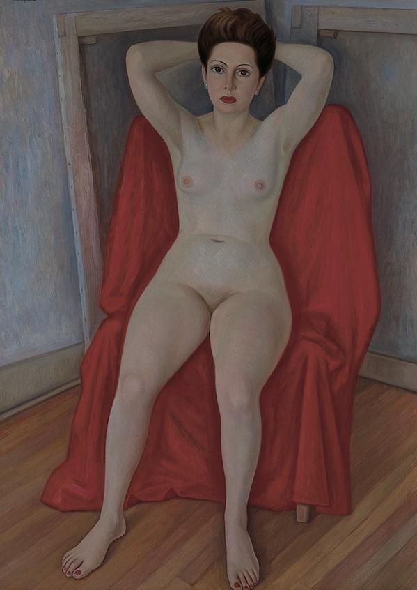 Raúl Anguiano   Desnudo de Pita Amor   1948- 1950  Óleo sobre tela  150.5 x 108.5 cm   Pita Amor, la undécima musa, fue inspiración para pintores, no sólo por la obra lírica de la escritora, sino por la belleza y extravagancia de su personalidad. Diego Rivera la retrató en 1949, al mismo tiempo que Raúl Anguiano ejecutaba  Desnudo de Pita Amor  que le llevó dos años terminar (1948-1950). La figura posa libremente, un suave baño de luz recae sobre sus pechos y su estómago, al igual que en las piernas y los pies. En el fondo, dos bastidores indican que se trata del taller del artista.