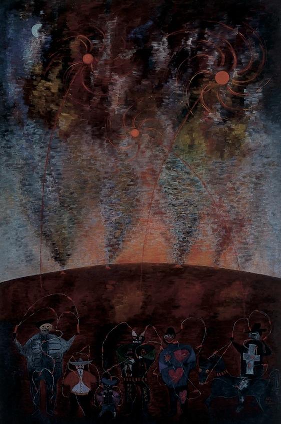 Alice Rahon   Piedad para los judas   1952  Óleo sobre tela  178 x 119 cm   Alice Rahon, de nacionalidad francesa, arribó a México en 1939 por invitación de Frida Kahlo y Diego Rivera, dadas las difíciles circunstancias en vísperas de la guerra. Al llegar ella descubriría una cultura que le fascinó e influyó su producción artística. La composición pictórica de Rahon está configurada frecuentemente por mitos y leyendas populares que evocan atmósferas imaginarias e íntimas.