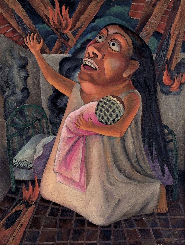 Gabriel Fernández Ledesma   Terrible siniestro   1928  Óleo sobre tela  69 x 53 cm  Gabriel Fernández Ledesma nació en Aguascalientes en 1900. Su inquietud intelectual lo llevaría a ser director y editor de la revista  Forma  (1928). En 1934 fue miembro fundador de la Liga de Escritores y Artistas Revolucionarios (LEAR).  Terrible siniestro  es una particular visión del cubismo y la Escuela Mexicana de Pintura, a la vez que un guiño a José Guadalupe Posada. La escena representa una mujer implorando ayuda con un recién nacido entre brazos, mientras que el fondo evidencia el incendio de su casa.