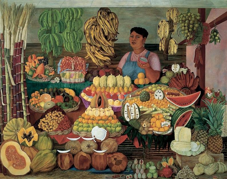"""Olga Costa   La vendedora de frutas    1951  Óleo sobre tela  195 x 245 cm   La vendedora de frutas  fue realizada por un encargo que le hizo Fernando Gamboa, en nombre del Instituto Nacional de Bellas Artes, para la """"Exposición de Arte Antiguo y Moderno Mexicano"""" en el Museo de Arte Moderno de París en 1952. El paisaje reúne una diversidad de frutas con el propósito de reflejar la diversidad y riqueza natural de México, en un periodo histórico en el que el Estado difundía internacionalmente una imagen de progreso y modernidad fincada en nuestras tradiciones y culturas populares."""