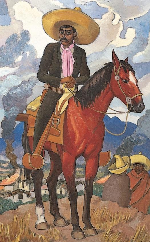 Fernando Leal   Emiliano Zapata , 1958  Óleo sobre tela  140 x 88   Fernando Leal es reconocido como uno de los iniciadores del movimiento muralista, al participar en la Escuela Nacional Preparatoria con el fresco  Los danzantes de Chalma . Uno de los temas que comenzó a desarrollar paralelamente, fue el del zapatismo, como lo demuestra su pintura  Campamento zapatista , de 1922. Este motivo continuó siendo parte de su repertorio, como puede observarse en esta obra hecha en los tardíos años 1950.