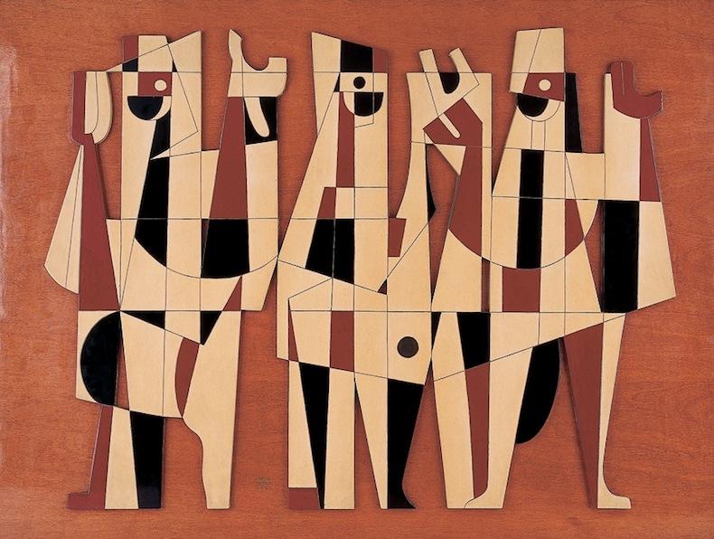 Carlos Mérida   Retablo , 1961  Bajo relieve en acrílico sobre madera  75.3 x 100 x 2. 5 cm  Esta obra forma parte de sus acercamientos a la integración plástica: Carlos Mérida fue uno de los representantes de este movimiento desde su particular posición abstraccionista derivada del estudio de la arqueología. Esta obra es una experimentación que busca unificar el sentido pictórico y escultórico del relieve, con posibilidades arquitectónicas. La técnica utilizada, por medio de la madera y el acrílico, confiere una cualidad uniforme a la pieza, lo cual acentúa los volúmenes presentados.