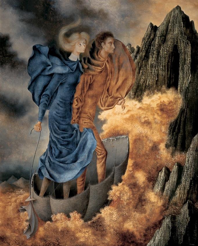 Remedios Varo   La huida , 1961  Óleo sobre masonite  122 x 99   Obras como  La huida  destacan por la presencia de una imagen que denota una escena fantástica. Se observa a dos personajes postrados sobre una estructura ligera que sobrevuela en una topografía imponente. La balsa es acompañada por una nube antropomorfizada de color ocre, la cual parece dirigir el camino y surge de una sombrilla que lleva sobre la mano el personaje femenino. Para Ida Rodríguez, las figuras de Varo siempre están ocupadas en quehaceres maravillosos, y evocan ciertos poderes y artefactos que calificó de locomoción ingeniosamente construidos, como en el caso de esta pintura.