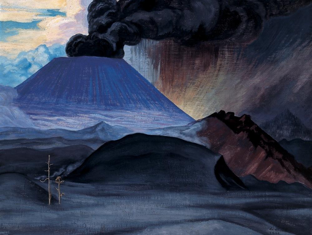 Gerardo Murillo (Dr. Atl)   El Paricutín , 1946,  Atlcolor sobre asbesto  122 x 154 cm.  En el momento del nacimiento del volcán Paricutín, el pintor conectó su práctica de vulcanólogo con la de pintor. Desde un inicio, se mudó a la zona del fenómeno donde realizó apuntes, así como obras derivadas de esta investigación interdisciplinaria. Esta obra forma parte de dicho repertorio, la cual fue elaborada en atlcolors y asbesto.