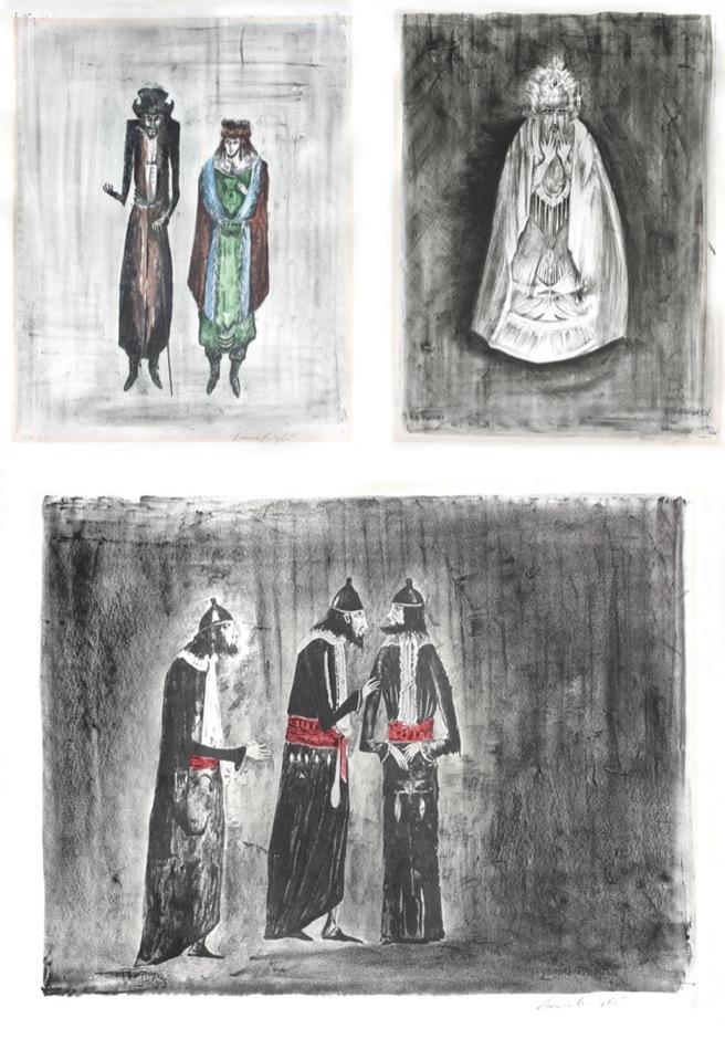Leonora Carrington  Sin título  s/f  Litografía a color 14/100  46 x 62 cm  --   The rabbit   1974  Litografía a color  14/100  63 x 47 cm  --  Leonora Carrington   The Jurgers   1974  Litografía a color  46 x 62 cm  Leonora Carrington es una de las principales representantes del surrealismo. Su obra no se restringió exclusivamente a la pintura o la escultura, sino que se amplió a la gráfica y la escritura. En 1957 diseñó el vestuario y la escenografía para la obra  Penélope , dirigida por Alejandro Jodorowsky. En estas tres litografías se observa el vocabulario visual de la práctica artística de Carrington: seres antropomorfos, animales fantásticos y atmósferas irreales que recuerdan las leyendas medievales del norte de Europa.