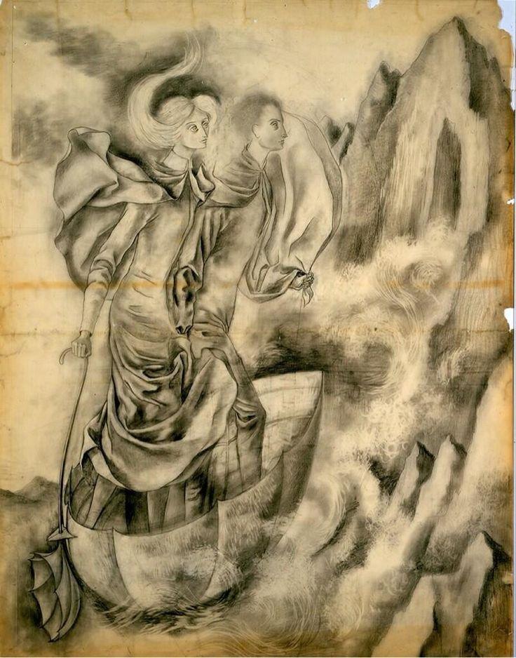 Varo, Remedios  La huida, 1961  Lápiz sobre papel mantequilla  123 x 98   Obras como  La huida  destacan por la presencia de una imagen que denota una escena fantástica. Se observa a dos personajes postrados sobre una estructura ligera que sobrevuela en una topografía imponente. La balsa es acompañada por una nube antropomorfizada de color ocre, la cual parece dirigir el camino y surge de una sombrilla que lleva sobre la mano el personaje femenino. Para Ida Rodríguez, las figuras de Varo siempre están ocupadas en quehaceres maravillosos, y evocan ciertos poderes y artefactos que calificó de locomoción ingeniosamente construidos, como en el caso de esta pintura.