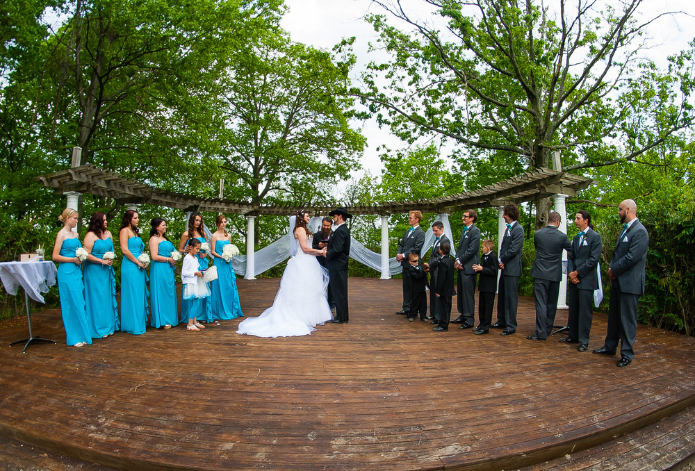 Photograph of wedding ceremony in Pyramid Park in Hamilton