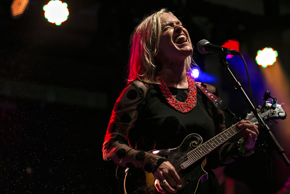 April Rankin of The Rankin Twins performs during an iHeartRadio-sponsored show at The Belmont in Austin, Texas on July 15, 2014.