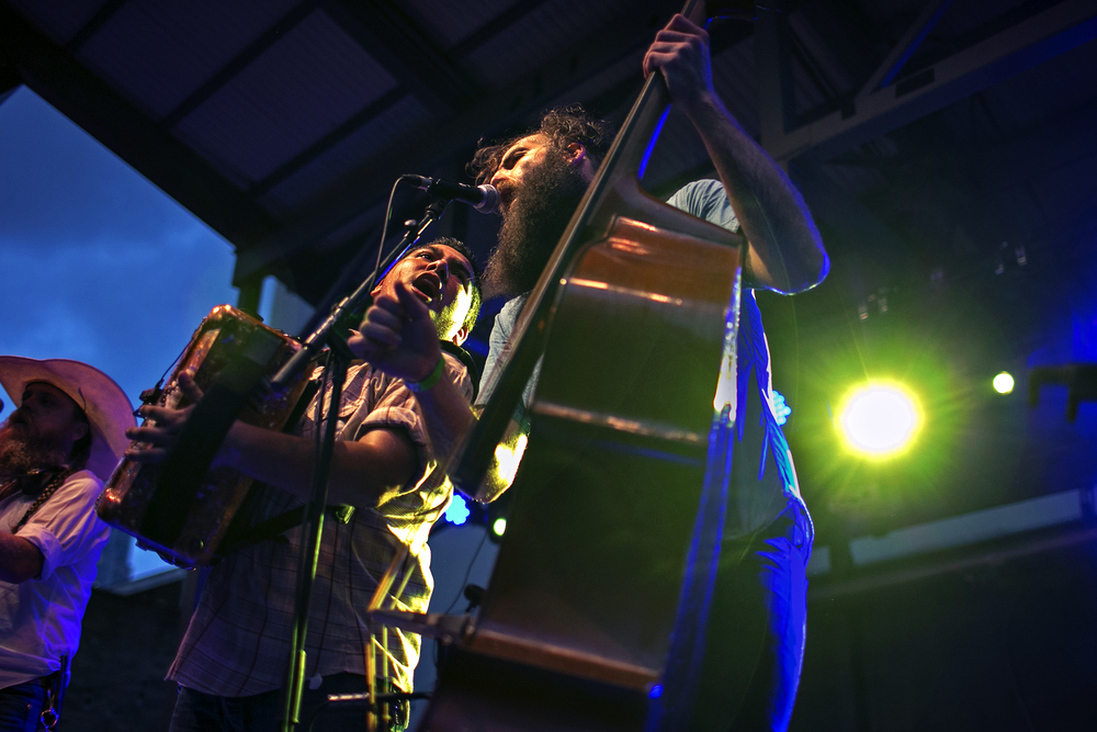 Anthony Ortiz Jr. and Joey McGill of Austin-based band Crooks play during an iHeartRadio-sponsored show at The Belmont in Austin, Texas on July 15, 2014.