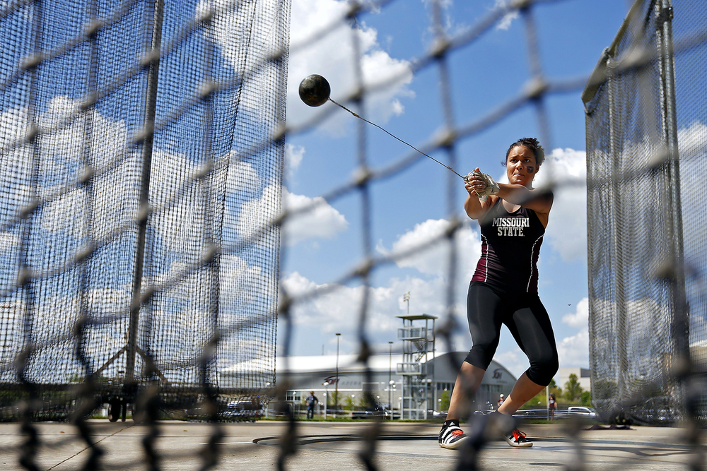 Missouri State Bears sophomore thrower Antonea Carson competes in the hammer throw during the Missouri State Invitational track meet held at Betty and Bobby Allison South Stadium in Springfield, Mo. on April 22, 2016. Carson finished in sixth place for the event.