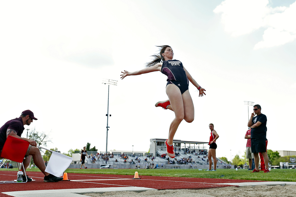 Missouri State Bears freshman Olivia Ott competes in the long jump event during the Missouri State Invitational track meet held at Betty and Bobby Allison South Stadium in Springfield, Mo. on April 22, 2016. Ott finished in fifth place for the event, while also competing in 100 meter hurdles, high jump and shot put.