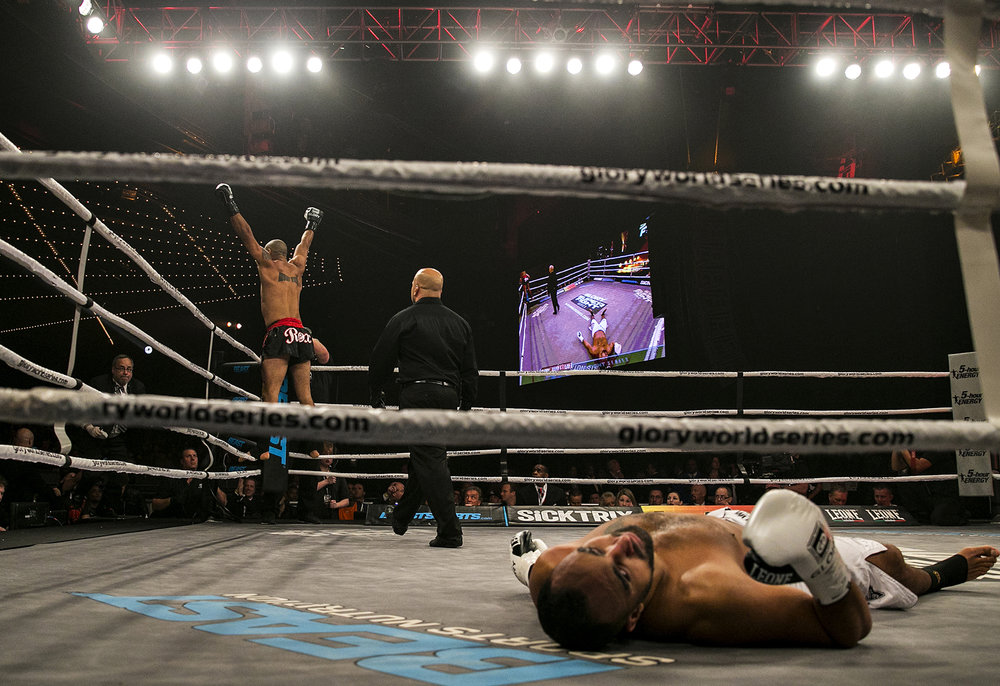 Saulo Cavalari celebrates after knocking out Mourad Bouzidi on the first round of their light heavyweight fight during Glory Superfight Series 12 held at the Theater at Madison Square Garden in New York, N.Y. on Nov. 23, 2013.