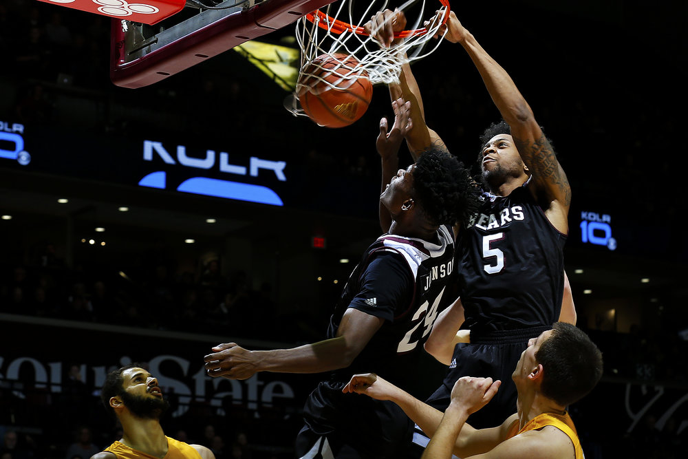 Missouri State Bears forward Obediah Church (5) dunks a loose ball during first half action of the NCAA Division I basketball game between the Missouri State Bears and the Valparaiso Crusaders at JQH Arena in Springfield, Mo. on Dec. 10, 2016.